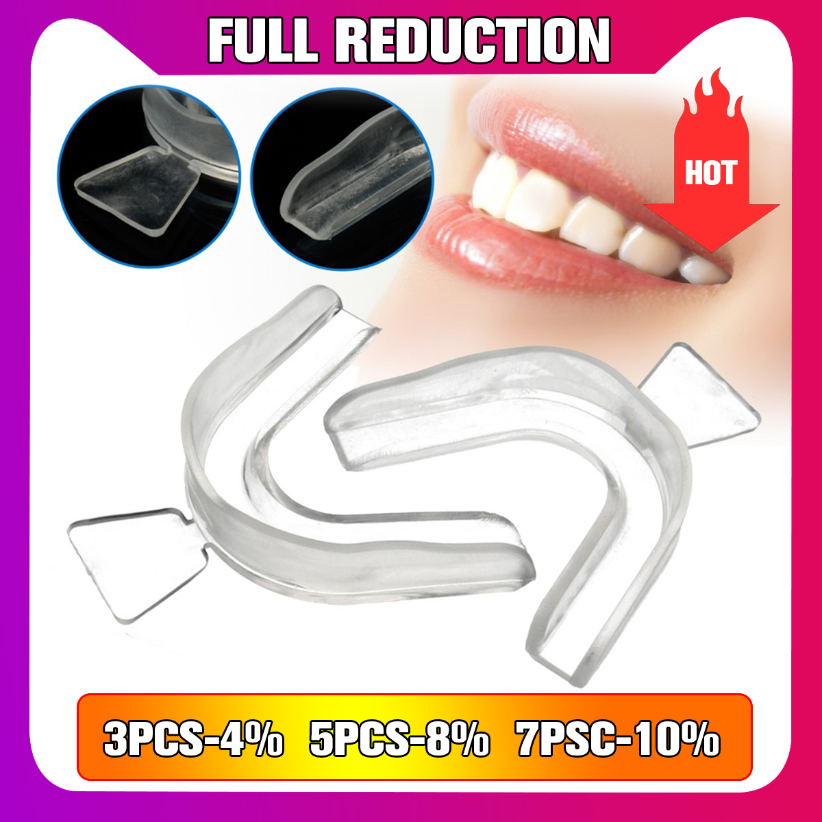 2pcs Transparent Night Guard Gum Shield Mouth Teeth Whitening Trays For Bruxism Teeth Grinding Dental Teeth Dental Equipment