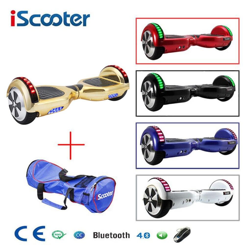 Iscooter Bluetooth Hoverboard Auto Équilibrage 6.5 pouces skateboard électrique Hover Bord Gyroscope trottinette électrique Debout Scooter