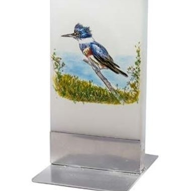 Flatyz Handmade Lithuanian Twin Wick Unscented Flat Candle, Blue Woodpecker