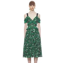 Banulin Self Portrait Dress 2019 Summer Boho Clothing Women Sexy Cold Shoulder Green Red Floral Printed Backless Pleated Dresses