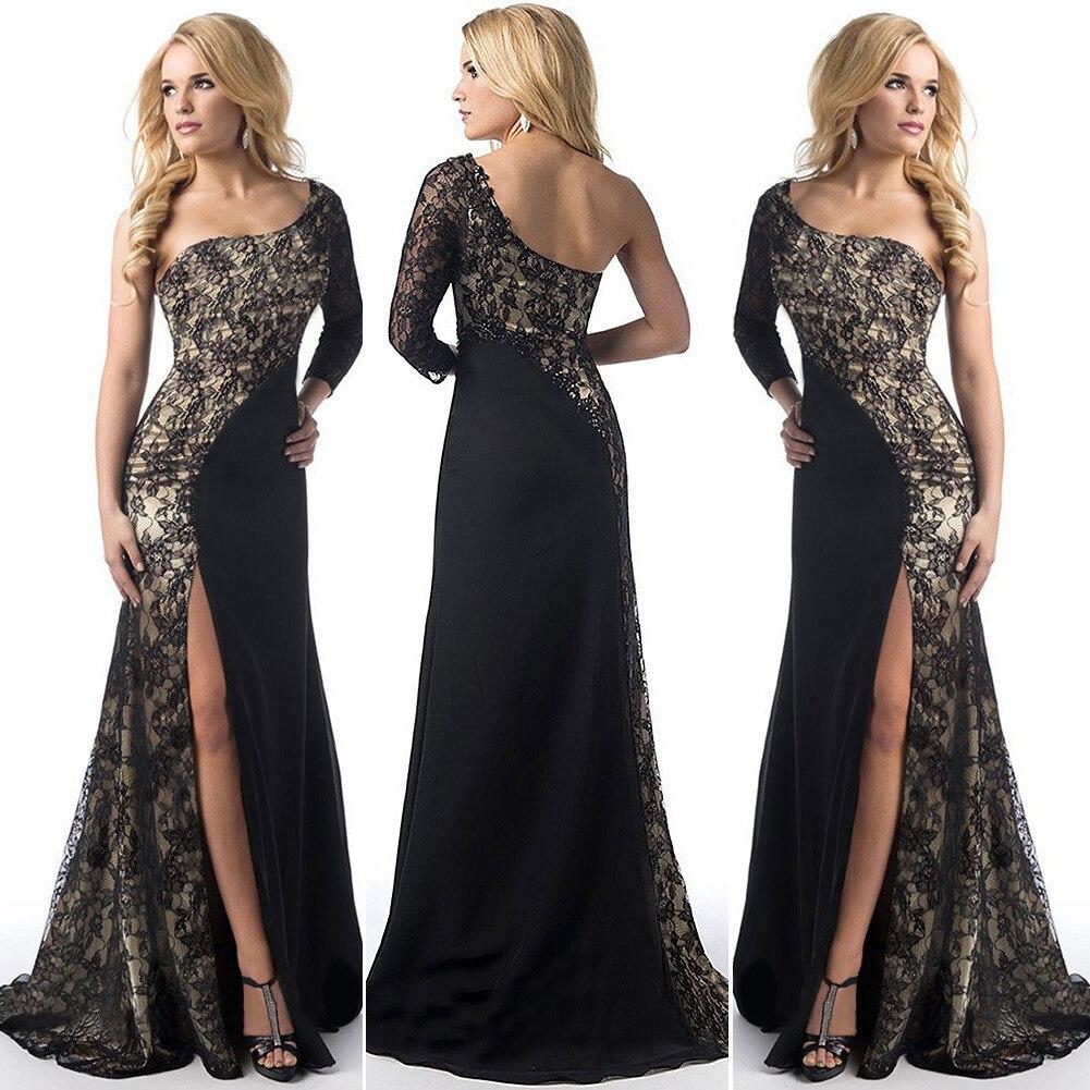 Sexy   Evening     Dresses   Long 2019 One-Shoulder Lace Leg Slit Cheap Black   Evening   Gowns Burgundy Mermaid Gowns Robe De Soiree Longue