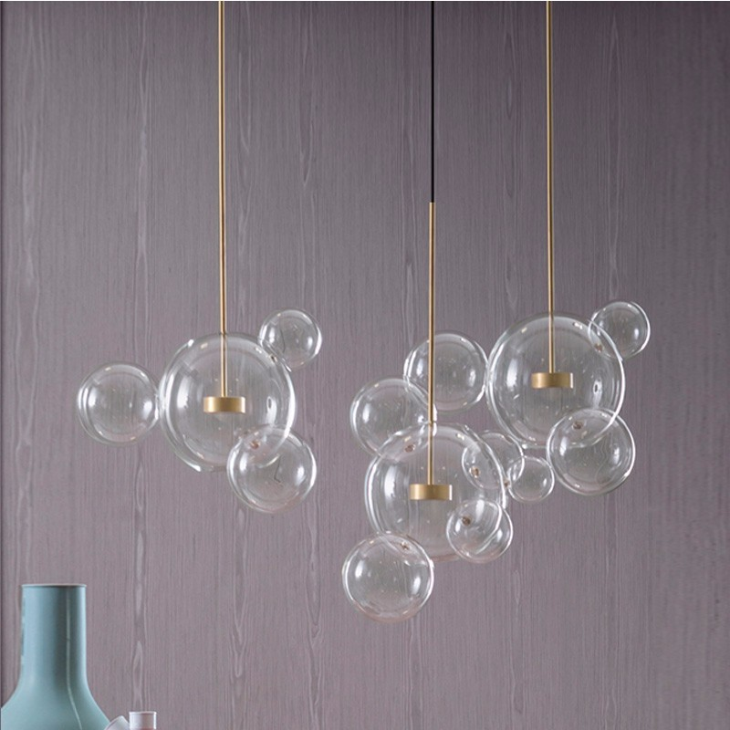 Modern LED Pendant Lights Fixtures Clear Glass Ball Luxury Home Hanging Lamp For Living Dining Room Lustre Restaurant Luminaria