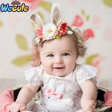 Wecute Artificial Flower Headband Baby Girls Fashion Lovely Rabbit Ear Hair Band Children Kids Princess Bandeau Photography Prop