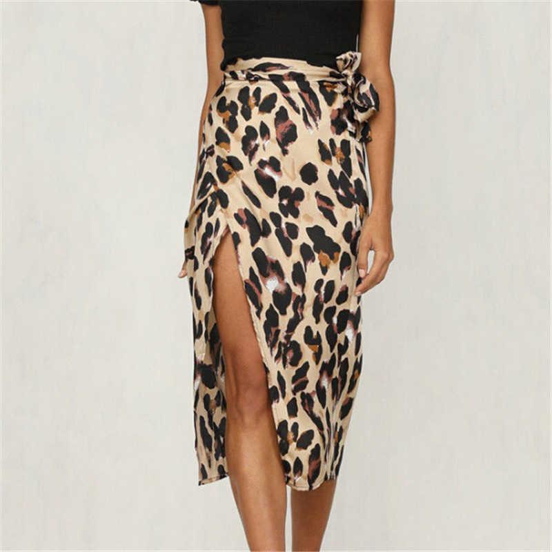 Women Skirt Fashion Women Leopard Print Skirt Lace Up Split Drape Pencil  Bodycon Skirts Asymmetric Wrap ac0a09ae2