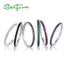 SANTUZZA кольца для женщин драгоценные камни Красный Черный Синий Зеленый Шоколад CZ Кольцо Штабелируемый 925 пробы серебро anillos ювелирные изделия
