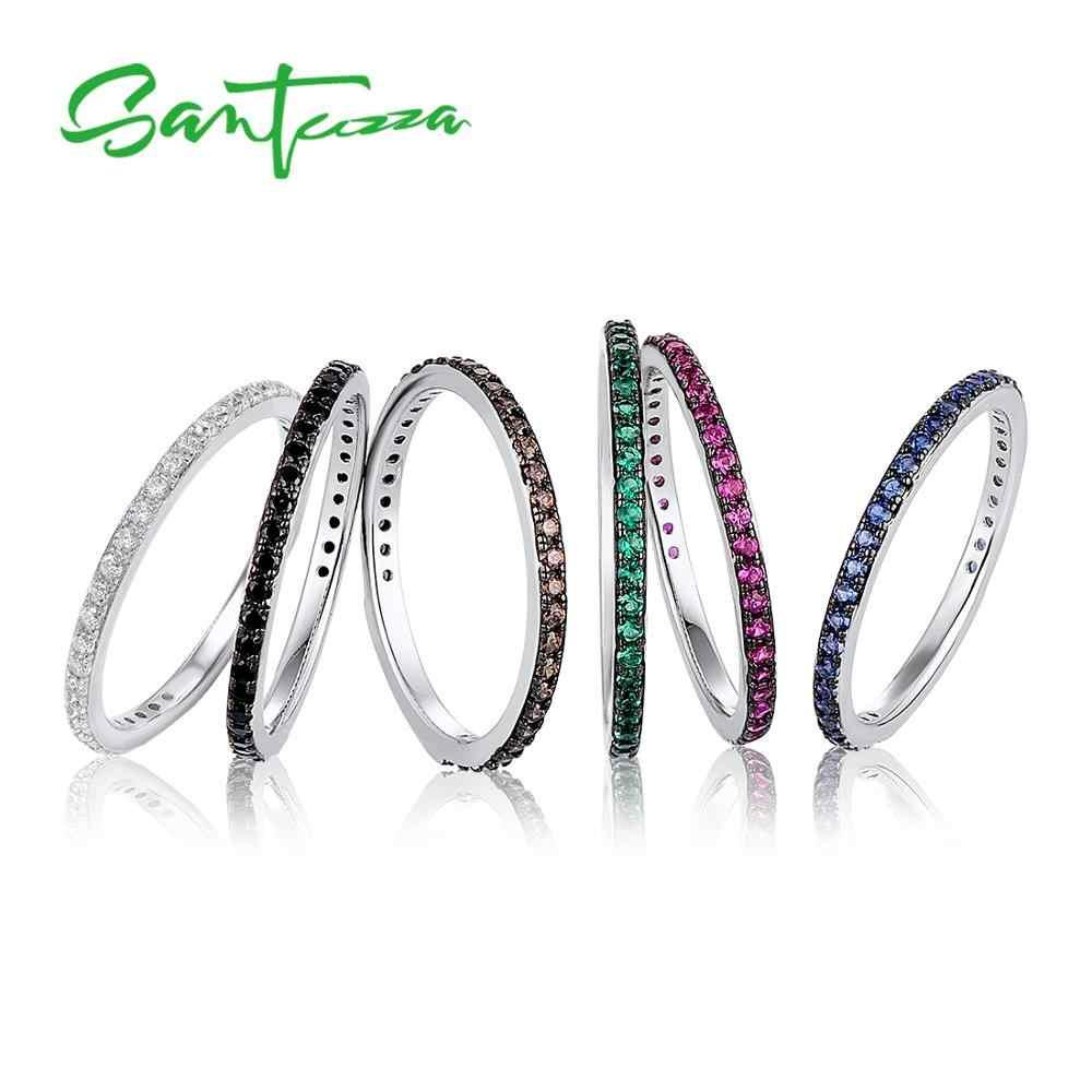 Santuzza anéis para mulher pedras preciosas vermelho preto azul verde chocolate cz anel empilhável 925 prata esterlina anillos moda jóias