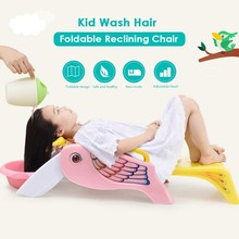 Foldable Baby Bath Reclining Chair Tubs Accessories Bathroom Seat Adjustable Head Two-Sided Handrails Washing Hair For Children