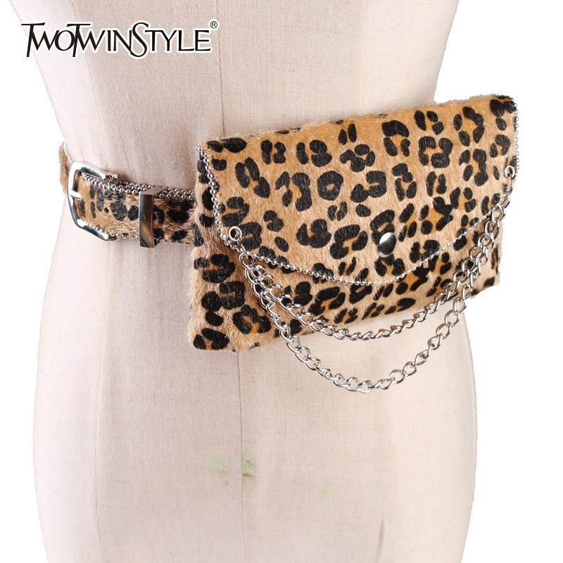 TWOTWINSTYLE Leopard Print Women's Belt For Clothing Beading Chains  Detachable Small Waist Bags 2020 Fashion Accessories