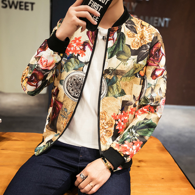 Men Jackets 2019 Spring Autumn Streetwear Fashion Print Jacket Slim Fit Bomber Jacket Men Long Sleeve Coat Clothes Plus Size 5XL in Jackets from Men 39 s Clothing