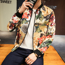 лучшая цена Men Jackets 2019 Spring Autumn Streetwear Fashion Print Jacket Slim Fit Bomber Jacket Men Long Sleeve Coat Clothes Plus Size 5XL