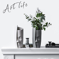 Modern Ceramic Art Vase Creatives Design People Face Decoration Vase Flower Home Abstract Decorative Wine Cabinet Vase Pot White