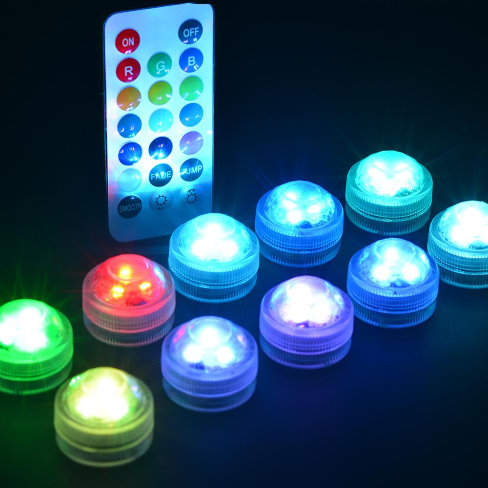 10pcs Wedding Decoration Remote Control Submersible LED Party Tea Table Mini Light With Battery For Marriage Halloween Christmas