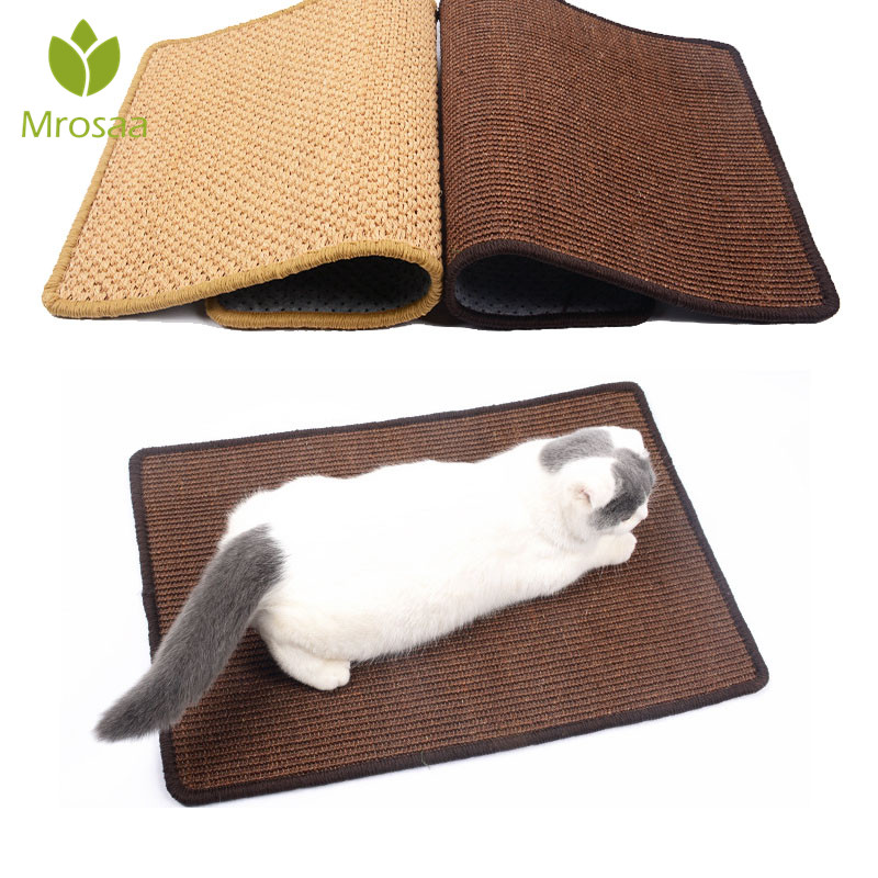 Mrosaa 40x60cm Cat Scratching Post Mat Natural Sisal Scratcher Board Pad Climbing Tree Protecting Furniture Foot Color Random
