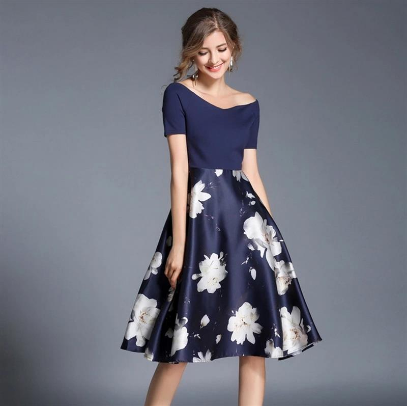 Women's Dress High Quality Elegant With White Flowers Darkblue Short Sleeve Strapless Shoulder