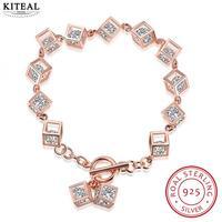 best friends Pure 925 Sterling Silver Perfume women charm bracelet Square stone pulseras collier plastron