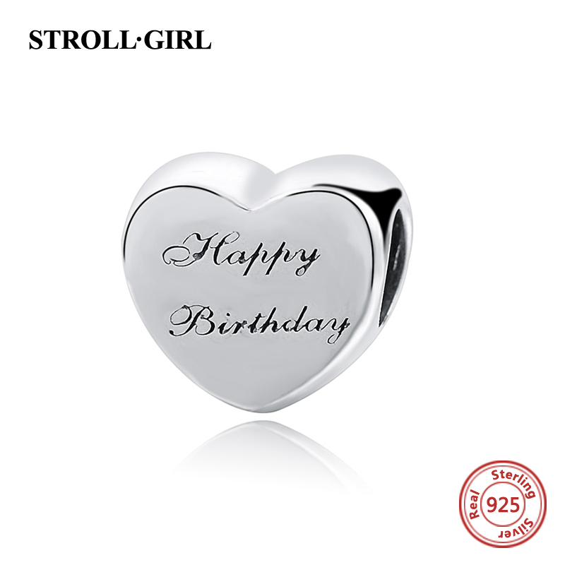 Heart shape Happy Birthday Beads Fit Pandora Bracelets Silver 925 Original Charms Authentic Jewelry Making for Birthday's gift(China)