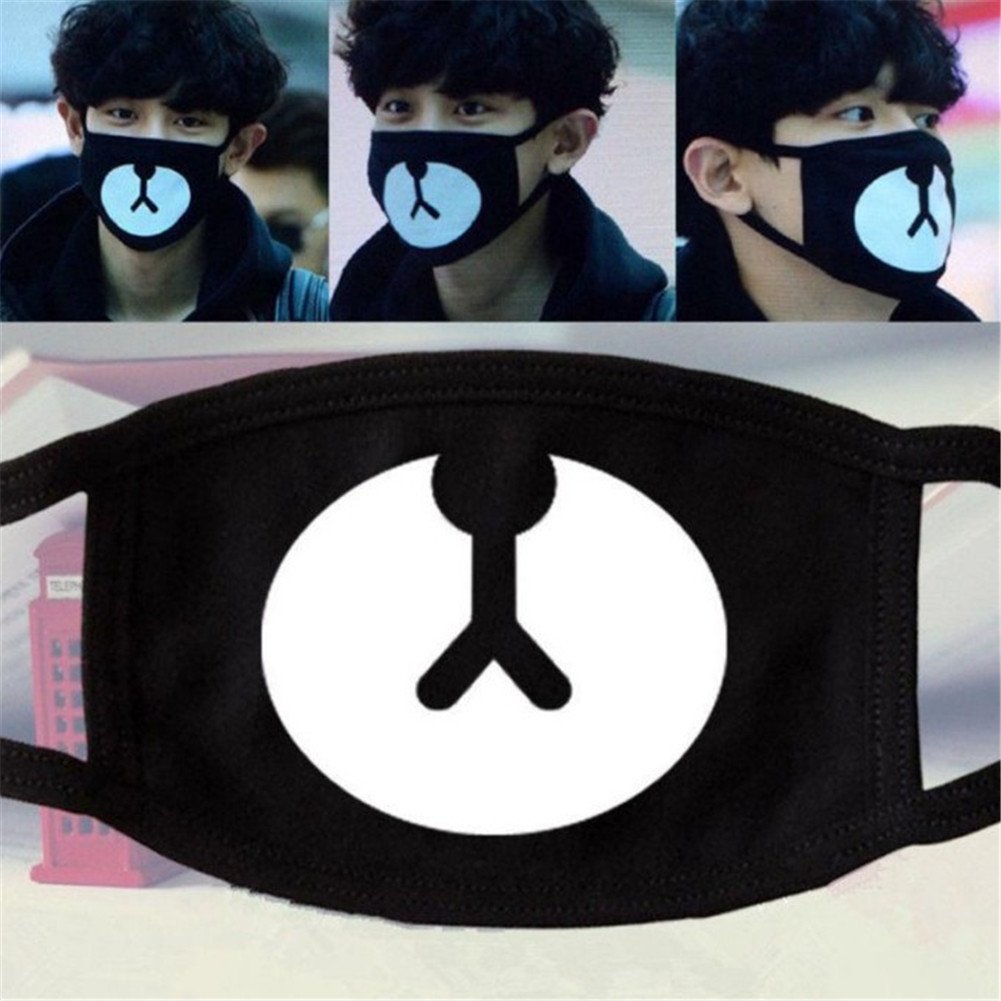 Unisex Winter Warm Thicken Mouth Mask Anti-Dust Respirator Fashion Black Face Muffle Cute Bear Printed Women Cotton Masks