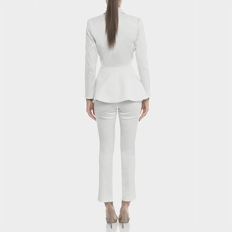 Blazer Poitrine Vêtements Col Femmes V Bureau 2018 Pantalons Femme Hiver Unique Blanc Party Sexy Costumes Formelle Set Designer Piste qF7UO
