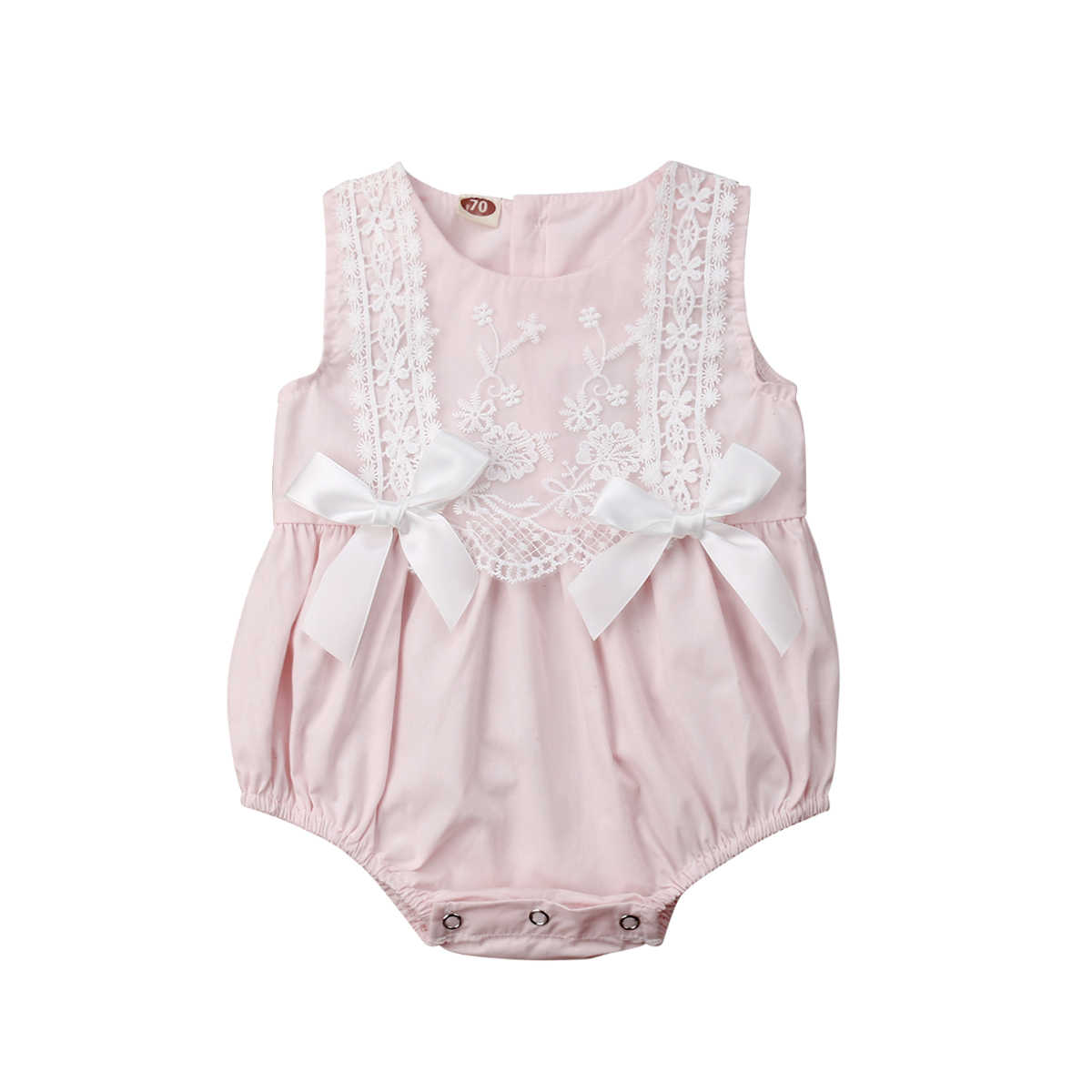 a2ed11377200 2019 New Infant Newborn Baby Girls Clothing Lace Ruffles Rompers Jumpsuit  Cute Bow Sunsuit Summer Baby