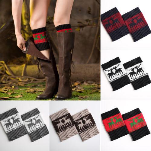 New Cute Women Warm Winter Crochet Boot Cuffs Elk Knitted Knee Sleeves Toppers Boot Socks Leg Warmer Xmas Gifts