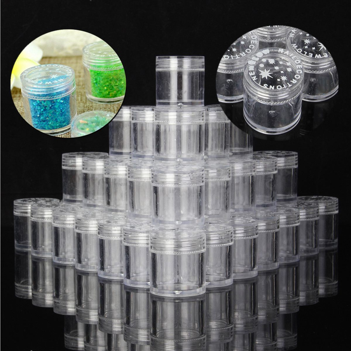 20/50pcs 10g Empty Plastic Makeup Nail Art Bead Storage Container Portable Cosmetic Cream Jar Pot Box Round Bottle Transparent