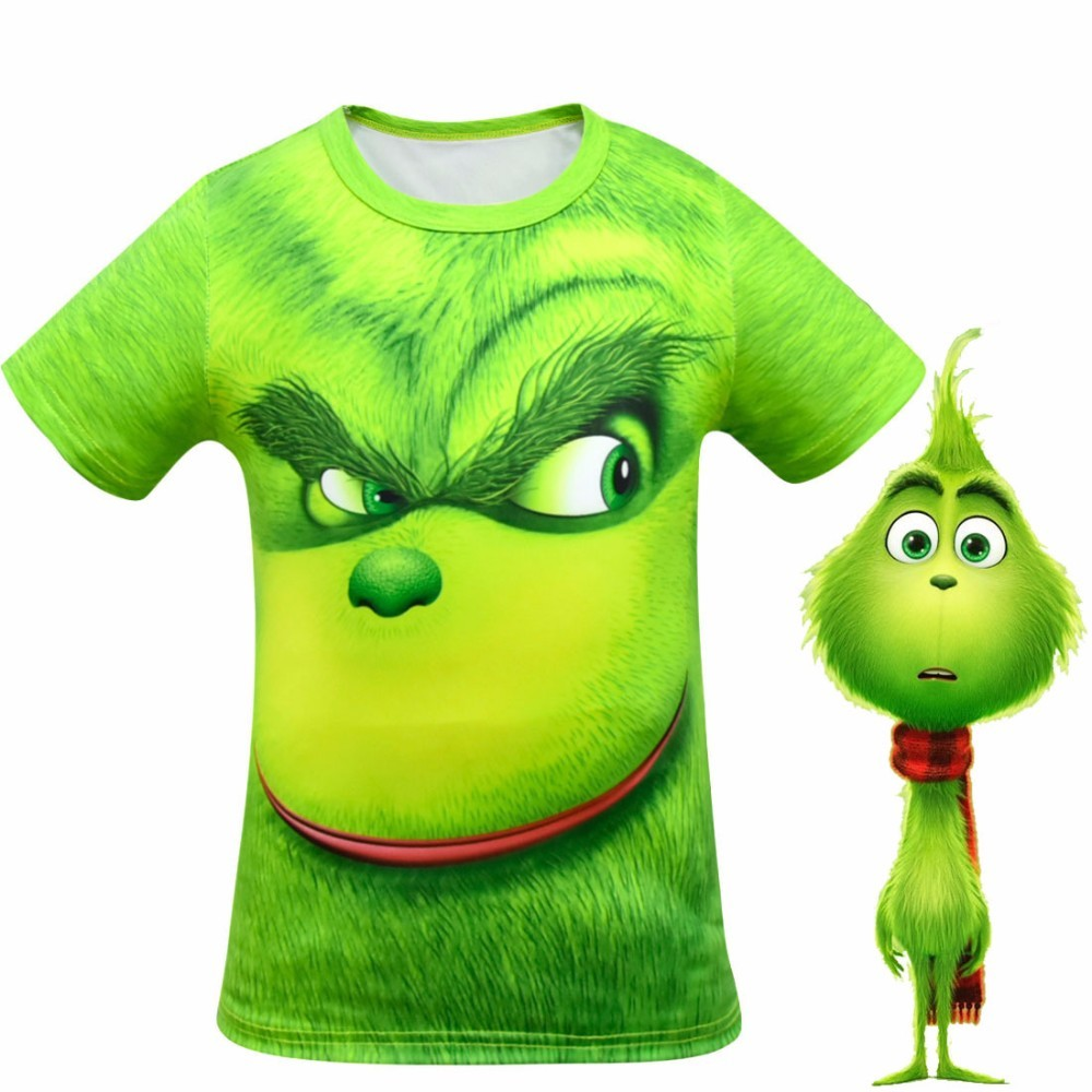 The Grinch Full Face 3D Printed T Shirt Kids Cool Cartoon Spring Summer Tops Halloween Girls Boys Grinch Cosplay Costume
