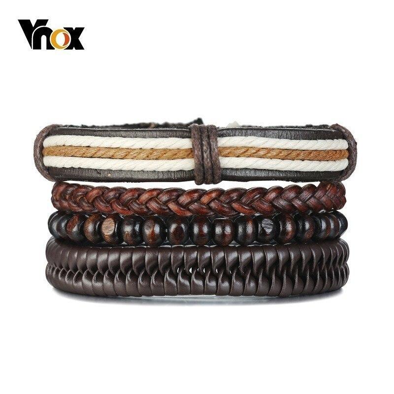 Vnox 4 pcs/ Set Wood Beads Bracelets for Men Braided Leather Punk Bangle Bohemia Holiday Jewelry Adjustable Length circle
