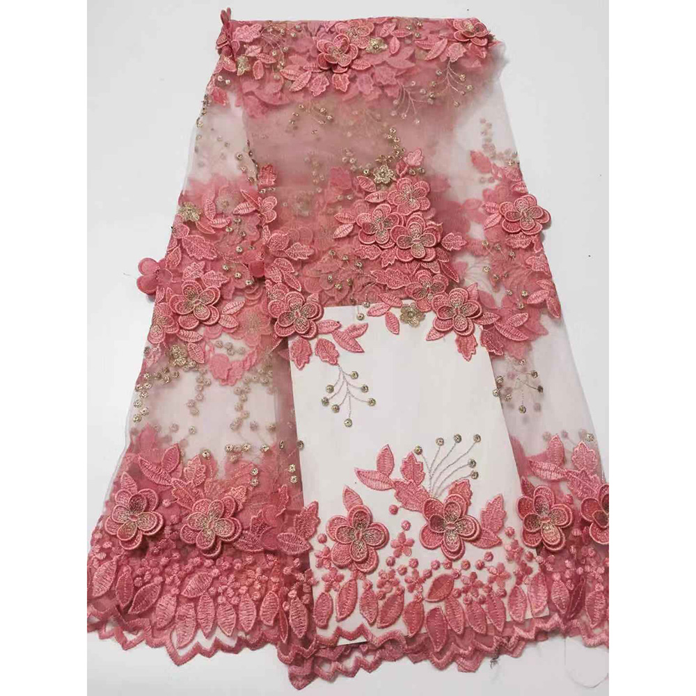 Latest African Lace Fabric Pink 3D Lace Fabric High Quality Lace Black Red Blue Nigerian Laces
