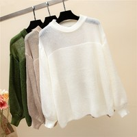Sweater Women Pullover Pull Femme Hiver Knitwear Sweaters Solid Round Collar Long Lantern Sleeve Knitted Patchwork Pullovers Top