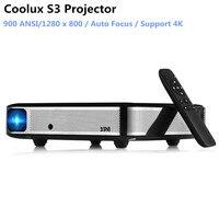 Coolux S3 DLP проектор 900 ANSI автофокусом 4 K дома Театр Cortex A53 1500: 1 1280x800 умный проектор на Android для Офис