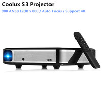 Coolux S3 DLP Projector 900 ANSI Auto Focus 4K Home Theater Cortex A53 1500:1 1280 x 800 Smart Android Projector For Home Office
