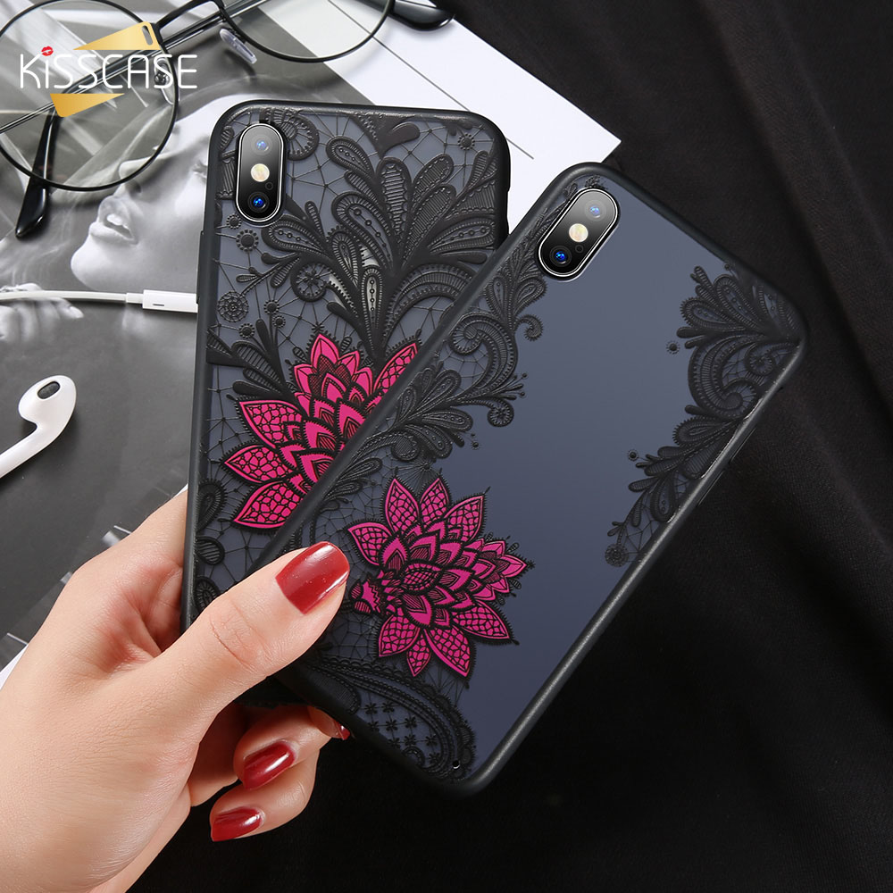 KISSCASE Lace Rose Flower <font><b>Case</b></font> For Samsung Galaxy S6 S7 Edge <font><b>S8</b></font> S9 Plus Note 8 9 Retro <font><b>Sexy</b></font> Phone Cover Fashion Girl Floral New image
