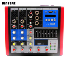 4 Ch Mini mikser Audio z 7 pasma EQ konsola miksująca, zasilanie Phantom 48V do komputera/Show na żywo i domu Karaoke VP4