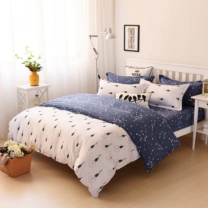 2018 New Arrival 1pc Star Moon Single Double Duvet Cover Quilt Minimalism Polyester Reactive Printing Geometrical Duvet Cover43