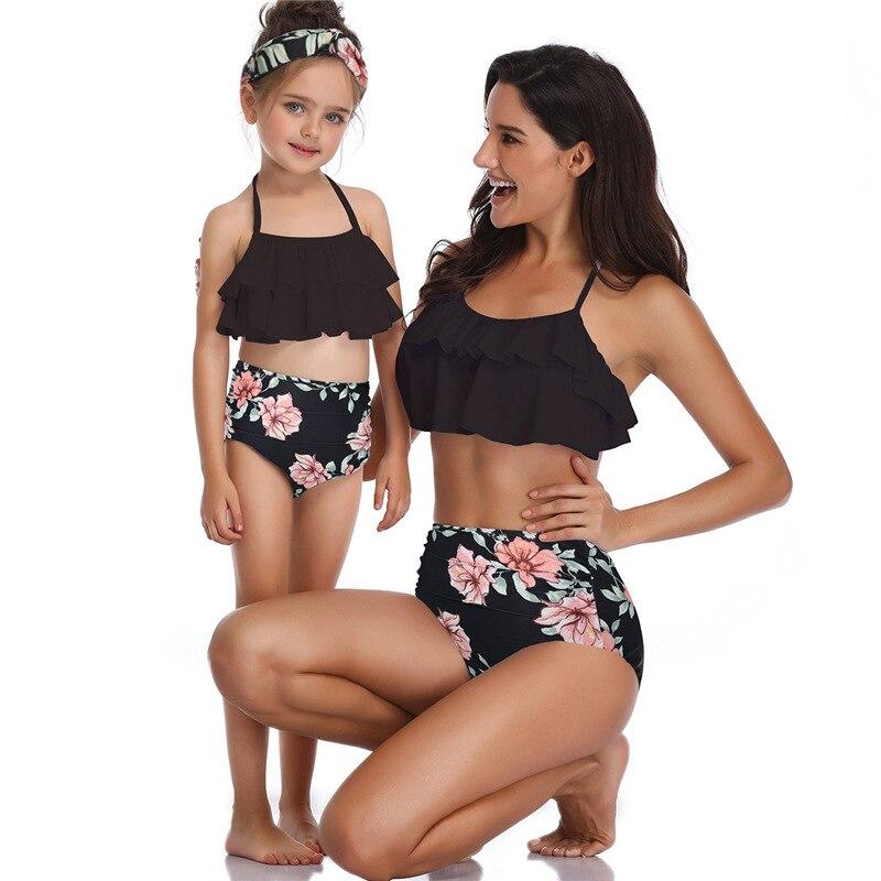 2019 New Fashion Mother Daughter Family Matching Ruffle High Waist Bikini Swimsuit Kids Swimwear