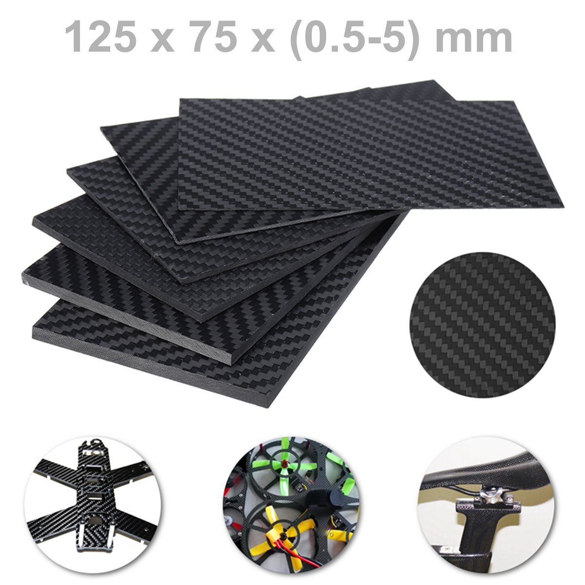 0.5-5MM 3K Matte Surface Twill Carbon Plate Panel Sheets High Composite Hardness Material Anti-UV Carbon Fiber Board 125X75 mm0.5-5MM 3K Matte Surface Twill Carbon Plate Panel Sheets High Composite Hardness Material Anti-UV Carbon Fiber Board 125X75 mm