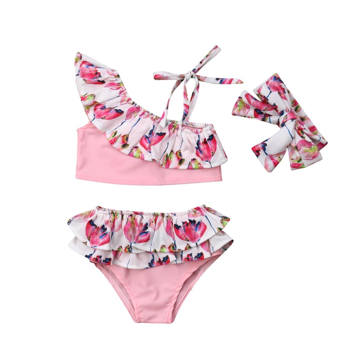 Swimwear Headbands Shorts Tops Bathing-Suit Beachwear Toddler Baby-Girls Summer 3PCS