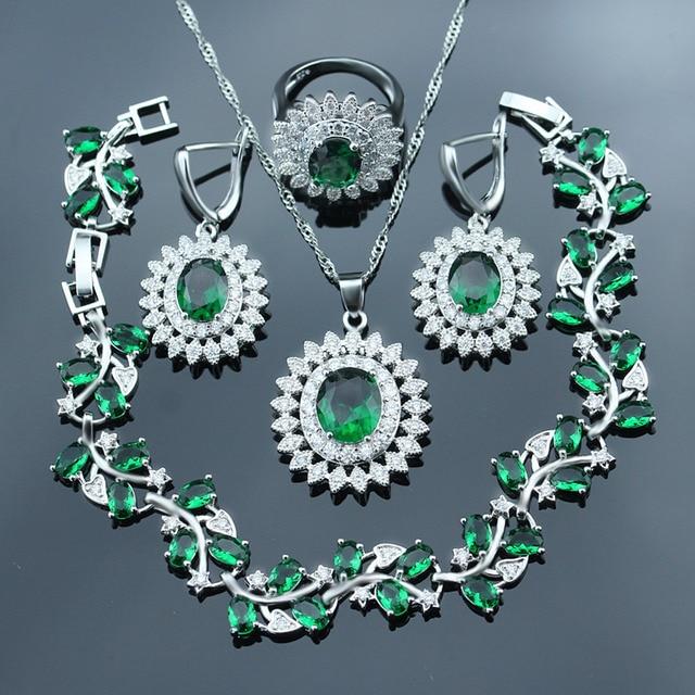 925 Logo Green Rhinestone White Crystal Silver color Jewelry Set For Women Brace