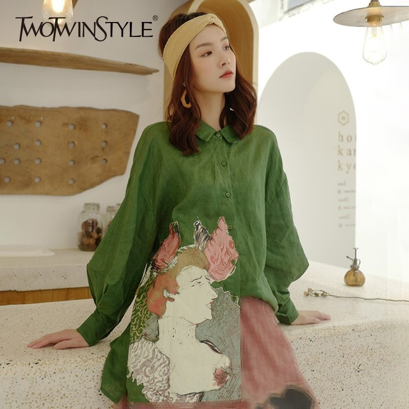 TWOTWINSTYLE Print Cartoon Womens   Blouse     Shirts   Loose Lantern Long Sleeve Backless   Shirt   Tops Female Vintage Fashion Autumn New