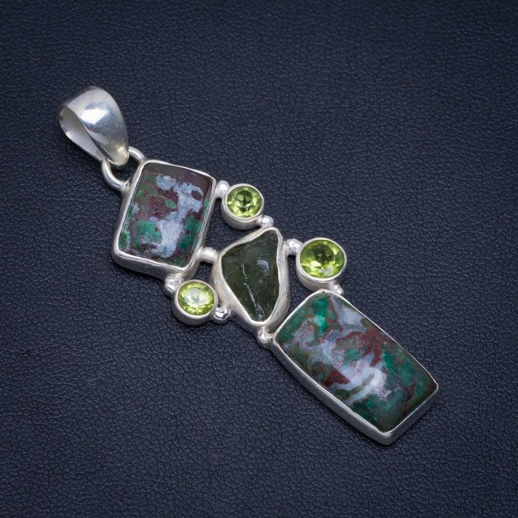 Chrysocolla naturel Druzy En Malachite, Péridot et améthyste verte Rugueux 925 pendentif en argent 2.25