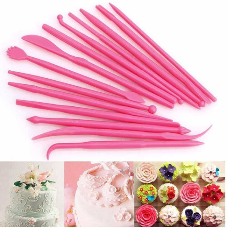 14 pcs Cake Modeling Tools Set Double Ended Fondant Rolling DIY Kit for Shaping Sculpting Carving