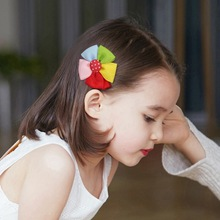 Colorful kids baby female solid color bow hair rope rubber band girl apron tiara accessories ring
