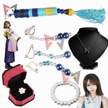 Final Fantasy Ten Yuna Cosplay accessories clip earrings Bell pendant necklace bracelet flower ring set fancy fashion jewelry