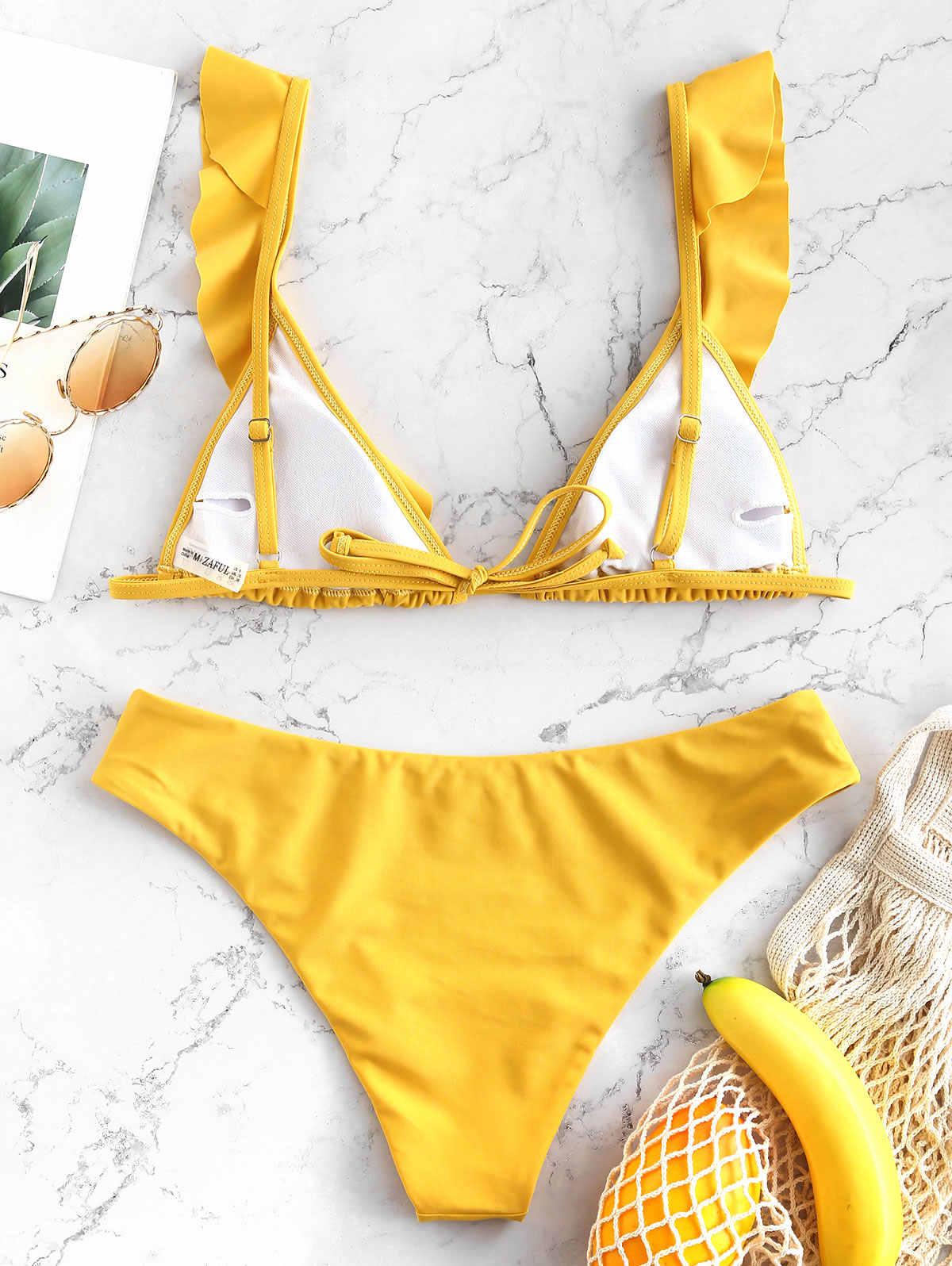 ZAFUL 2019 nowe Bikini kobiety Sexy strój Ruffles Plunge Neck strój kąpielowy stroje kąpielowe Bikini Set Retro Frill Bikini Biquinis
