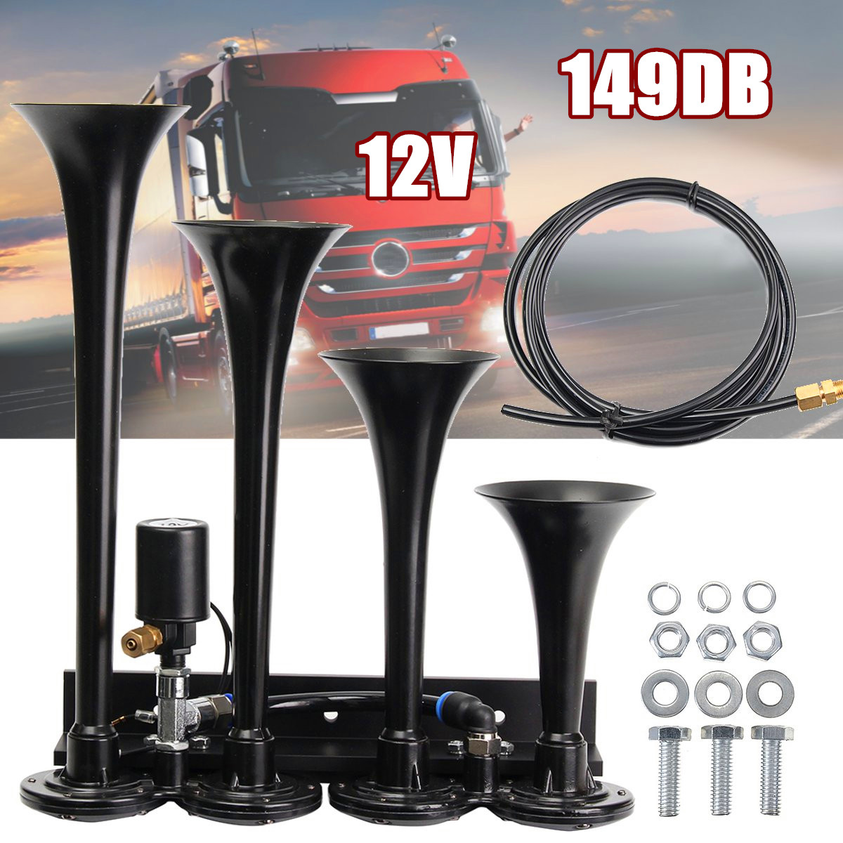 12V 149DB Loud Four Trumpet Train Air Horn Kits VXH4124B For Car Truck Boat Vehicle Train 340mm 155mm12V 149DB Loud Four Trumpet Train Air Horn Kits VXH4124B For Car Truck Boat Vehicle Train 340mm 155mm