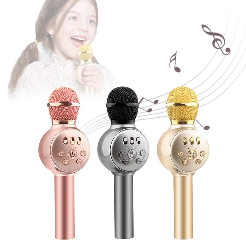 Professional Wireless Karaoke Microphone Bluetooth Colorful Lights Mobile Phone Karaoke Microphone For Child Kids Birthday Gift
