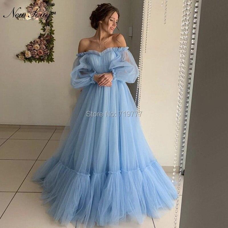 Bleu épaule dénudée robes de soirée arabe Couture robe de bal 2019 célébrité robe de soirée robes de bal caftan femmes enceintes robe