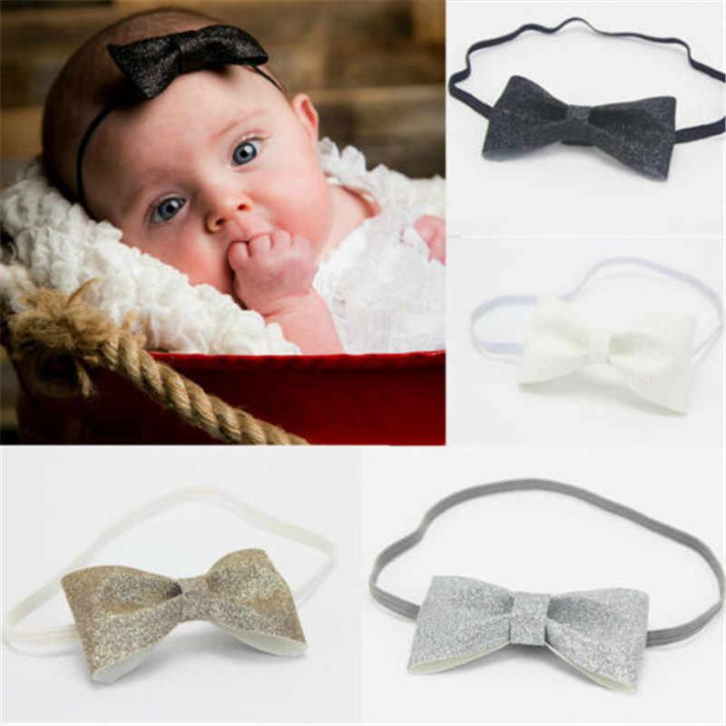 Baby Girl ヘッドバンドちょう結び幼児新生児グリッター弓ナイロンヘアクリップパーティーかわいい王女アクセサリー