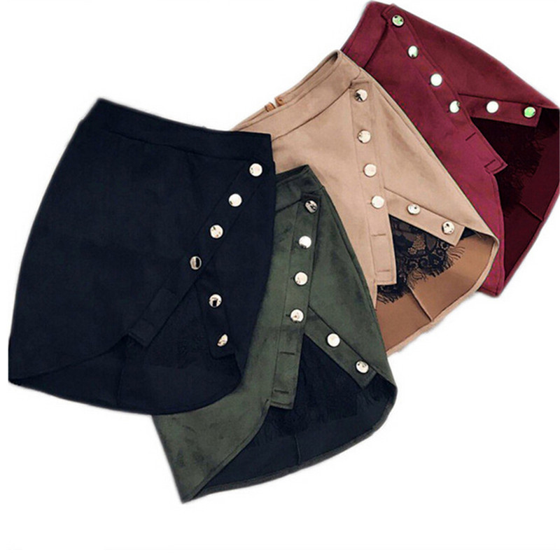 New Fashion Women High Waist Pencil Skirts Ladies Button Lace Patchwork Sexy Bodycon Suede Leather Split Party Casual Mini Skirt image