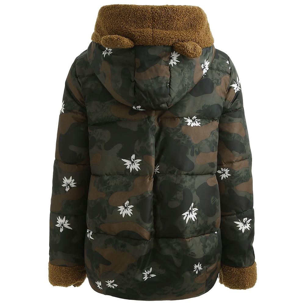 fed4aaf34ca11 Women Winter Jackets Coat Hooded Camo Print Military Casual Parka Female  Rabbit Ear Puffer Coat Warm Anorak Jacket Overcoat